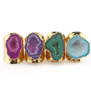 5pcs Mixed Colors Geode Rings