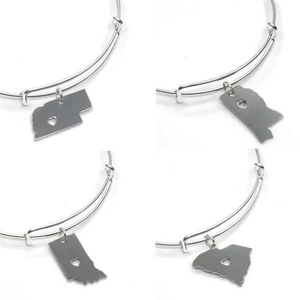 Bohemian Bliss Boutique,Silver State Adjustable Bangle Bracelet,Bracelets,XQ Beads Store
