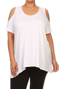 Bohemian Bliss Boutique,White Loose Fit Cold Shoulder Top - PLUS,Plus Tops,Chatoyant