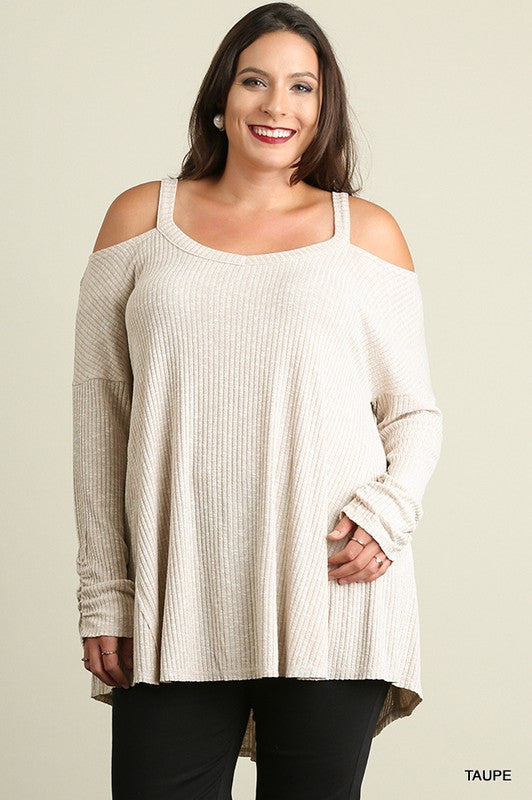 Umgee Cold Shoulder Ribbed High Low Tunic (Plus), Plus Tops - Bohemian Bliss Boutique