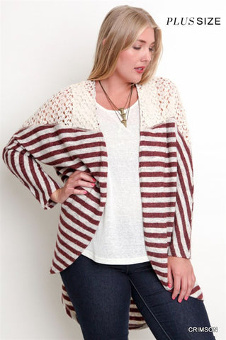 Bohemian Bliss Boutique,Umgee Striped Kimono Sweater (Plus),Plus Tops,Umgee
