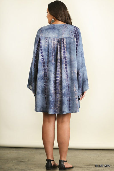 Umgee Blue Tie Dye A Line Dress w/ Keyhole Neckline (Plus)
