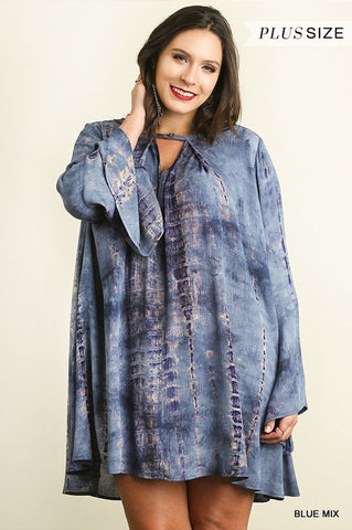 Bohemian Bliss Boutique,Umgee Blue Tie Dye A Line Dress w/ Keyhole Neckline (Plus),Plus Dresses,Umgee