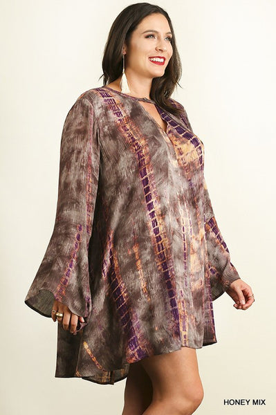 Umgee Purple Tie Dye A Line Dress w/ Keyhole Neckline (Plus)
