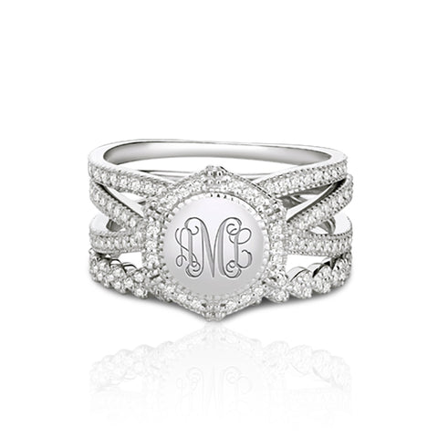 Sterling Silver Zircon Engraved Monogram Stackable Ring