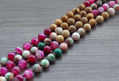 Multi Colored Bohemian Beaded Necklace, Necklaces - Bohemian Bliss Boutique