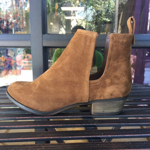 Bohemian Bliss Boutique,Tan Faux Suede Side Cutout Booties,Shoes,Shoe Maiden