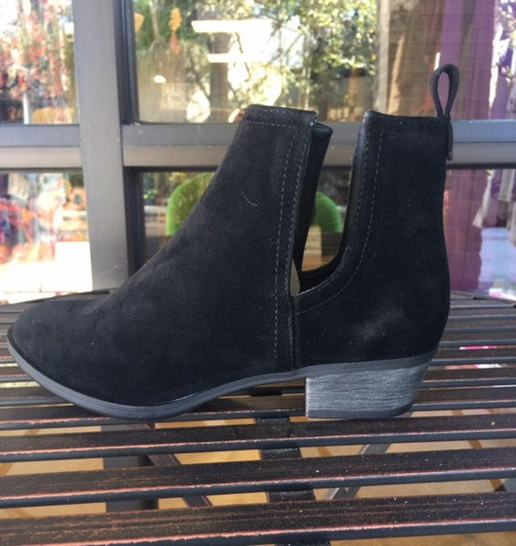 Black Faux Suede Side Cutout Booties