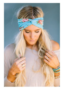 Bohemian Bliss Boutique,Blue Floral Turban Headband,Headbands,Gemini Mermaids