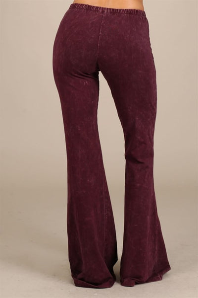 Bohemian Bliss Boutique,Mineral Washed Bellbottom Leggings - Burgundy,Bottoms,Chatoyant