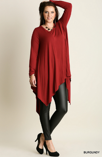 Umgee Long Sleeve Trapeze Tunic PLUS - Burgundy