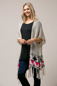 Bohemian Bliss Boutique,Natural Multi Color Cardigan,Tops,Unit Fashion
