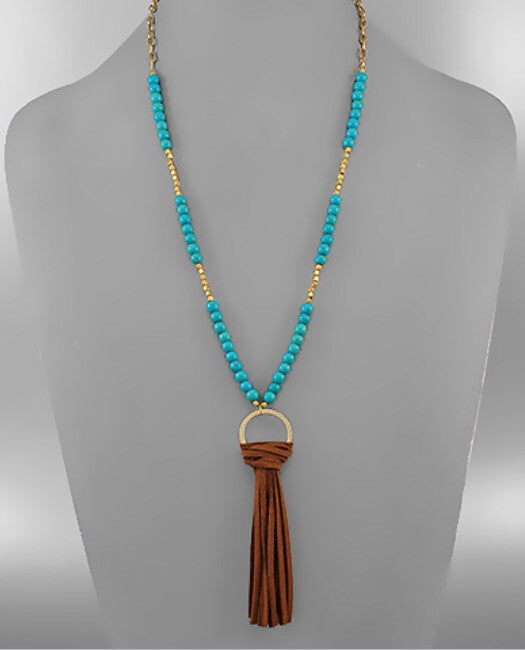 Bohemian Bliss Boutique,Turquoise Beaded Suede Tassel Necklace,Necklaces,Bohemian Bliss