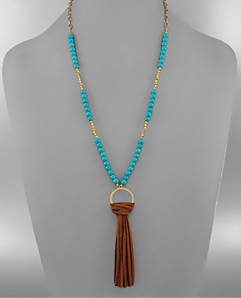 Turquoise Beaded Suede Tassel Necklace - Bohemian Bliss