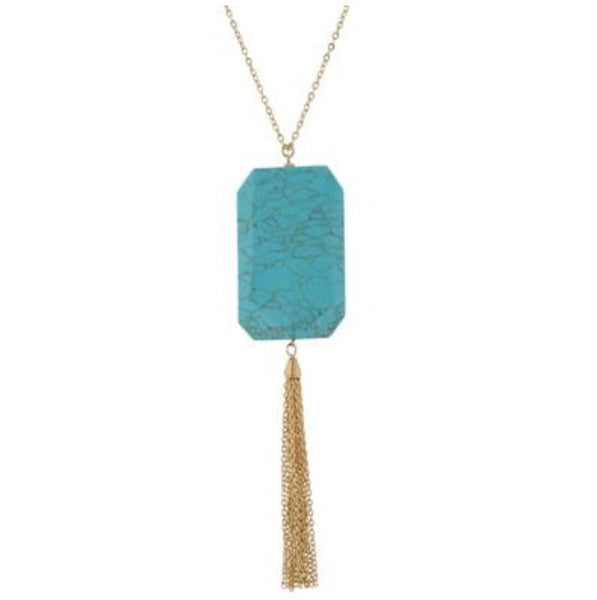 Turquoise Stone with Gold Tassel Necklace - Bohemian Bliss