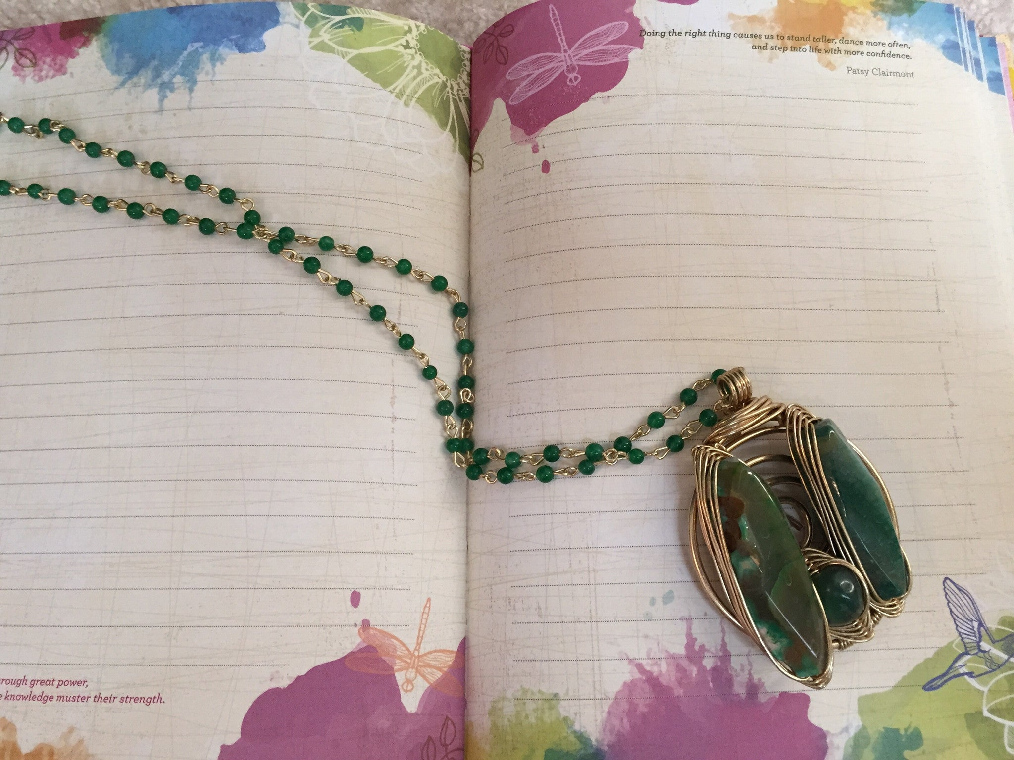 Bohemian Bliss Boutique,Green/Gold Wire Stone Necklace,Necklaces,Bohemian Bliss