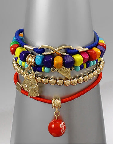 Bohemian Bliss Boutique,Multi Color Beaded Cord Bracelets,Bracelets,Bohemian Bliss