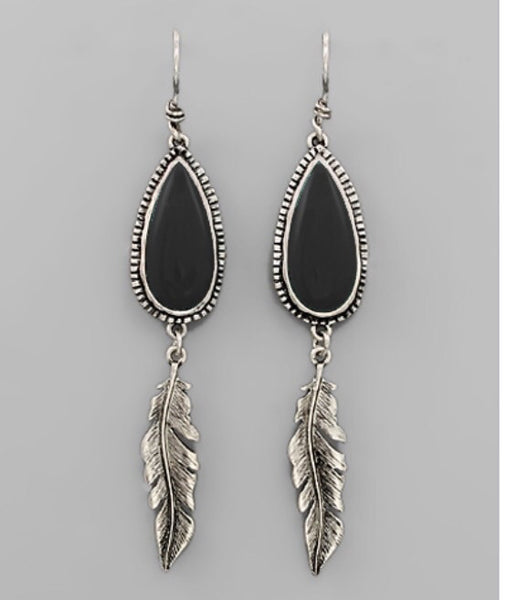Teardrop Feather Earrings - Black/Silver - Bohemian Bliss