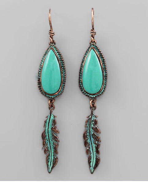 Teardrop Feather Earrings - TQ/Patina/Copper - Bohemian Bliss