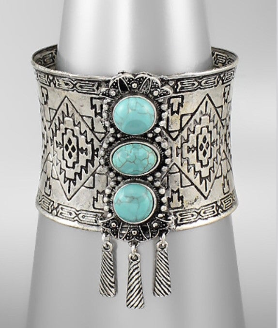 Turquoise/Antique Silver Cuff - Bohemian Bliss