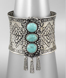 Bohemian Bliss Boutique,Turquoise/Antique Silver Cuff,Cuff,Bohemian Bliss