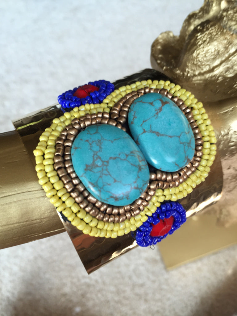 Gold Cuff with Yellow and Blue Beads, Cuff - Bohemian Bliss Boutique