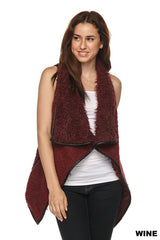 Burgundy Fur Vest, Tops - Bohemian Bliss Boutique