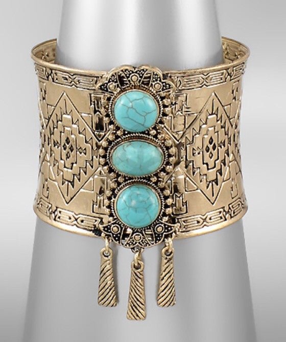 Turquoise/Antique Gold Cuff - Bohemian Bliss