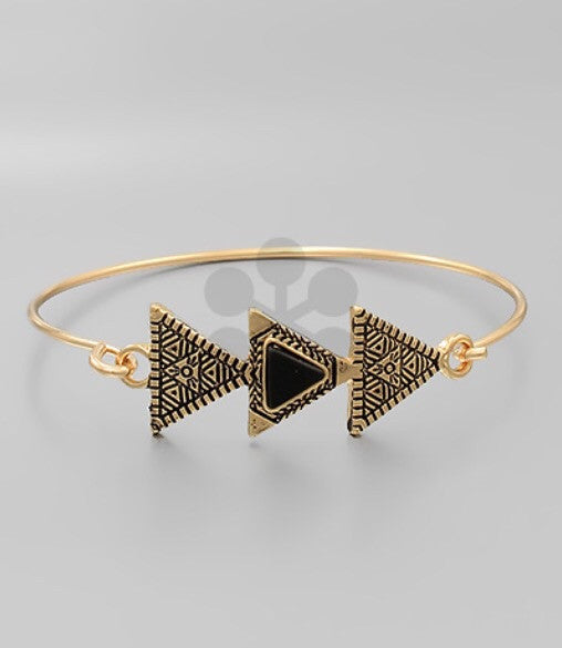 Triple Aztec Gold Hook Bracelet - Bohemian Bliss