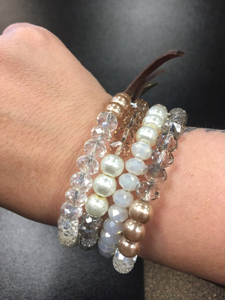 Beaded Spiral Bracelet with Charm - Bohemian Bliss