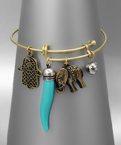 Bohemian Bliss Boutique,Turquoise Horn and Elephant Bracelet,Bracelets,Bohemian Bliss