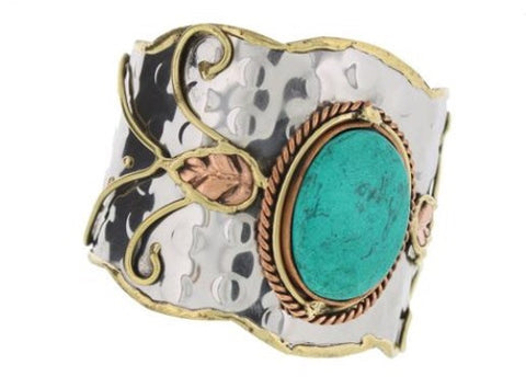 Bohemian Bliss Boutique,Silver Cuff with Turquoise Stone,Cuff,Bohemian Bliss