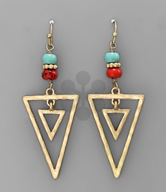 Bohemian Bliss Boutique,Triangle w/Beads Earrings,Earrings,Bohemian Bliss