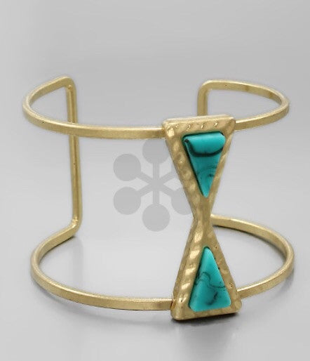 Triangle Beads Gold Cuff - Bohemian Bliss