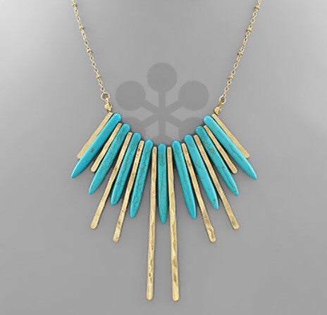Turquoise Spike Necklace - Bohemian Bliss