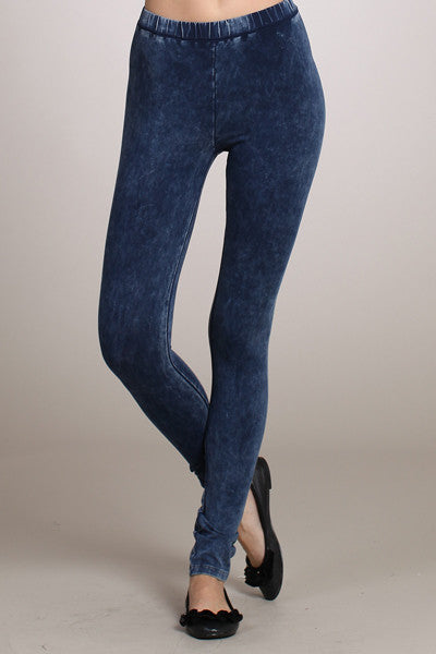 Electric Blue Mineral Washed Leggings - Bohemian Bliss