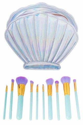 Bohemian Bliss Boutique,10 pc Seashell Makeup Brush Kit,Beauty,Girly