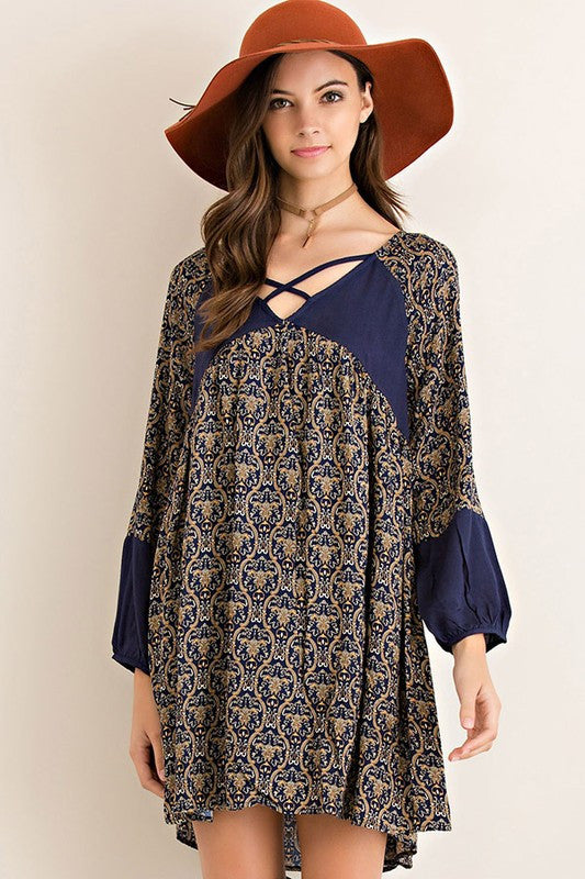 Navy Long Sleeve Print Shift Dress with Lining, Dresses - Bohemian Bliss Boutique