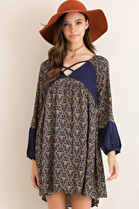 Bohemian Bliss Boutique,Navy Long Sleeve Print Shift Dress with Lining,Dresses,La Vida