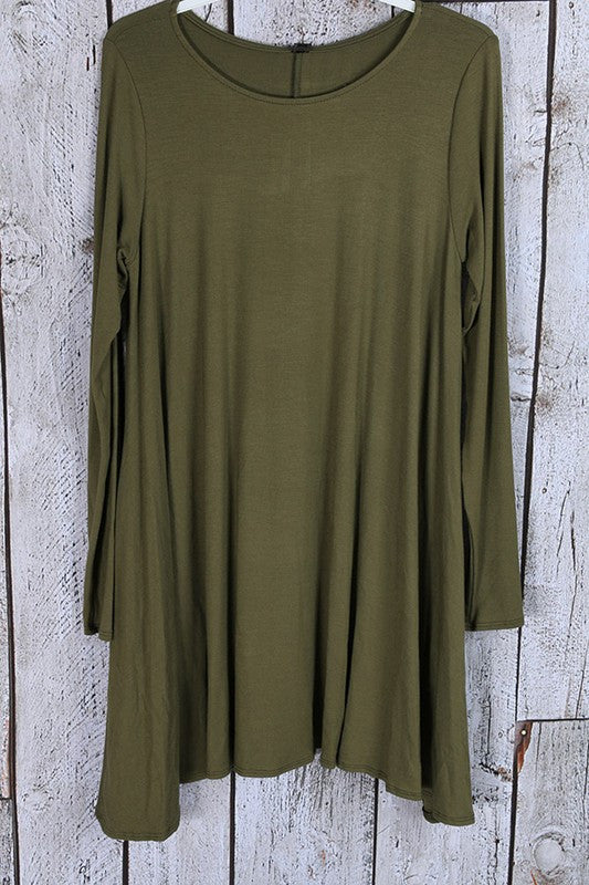 Solid Jersey Tunic Dress with Side Pockets - Olive - Bohemian Bliss
