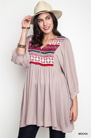 Bohemian Bliss Boutique,Umgee Mocha Peasant Dress / Tunic (PLUS),Plus Dresses,Umgee