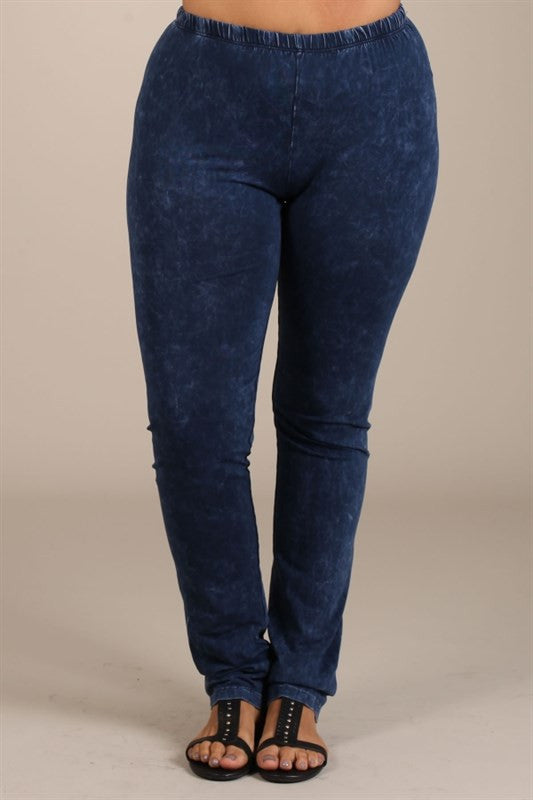 Bohemian Bliss Boutique,Electric Blue Mineral Wash Leggings - PLUS,Plus Bottoms,Chatoyant