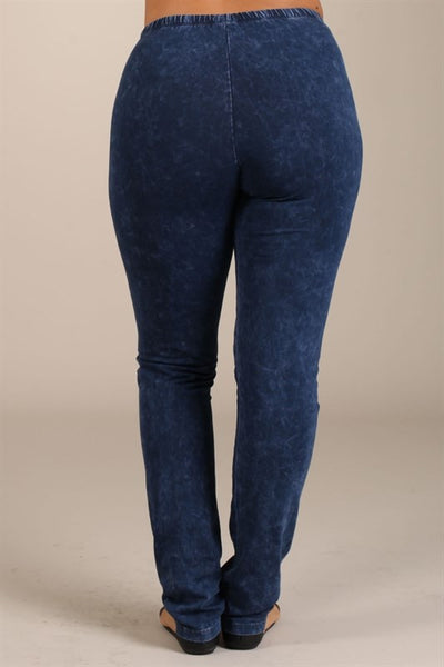 Electric Blue Mineral Wash Leggings - PLUS - Bohemian Bliss