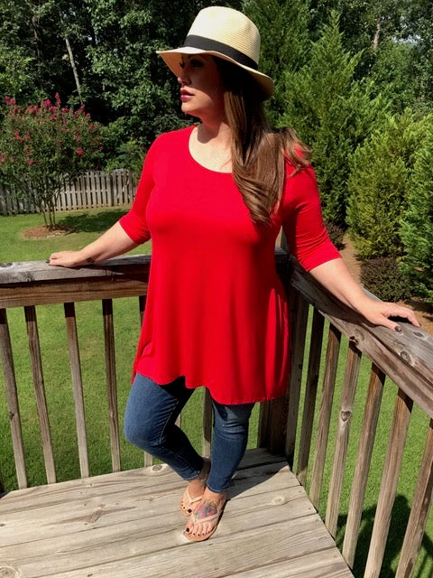 Red 3/4 Sleeve Tunic, Tops - Bohemian Bliss Boutique