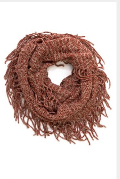 Solid Fringe Detail Knit Cozy Scarf - Bohemian Bliss