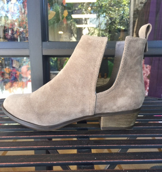 Beige Faux Suede Side Cutout Booties