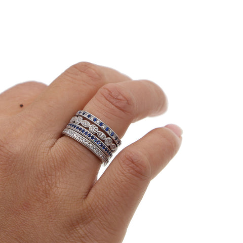 Sterling Silver Blue Cubic Zirconia Stackable Ring Set