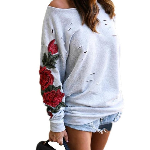 Rose Embroidery Sweatshirt