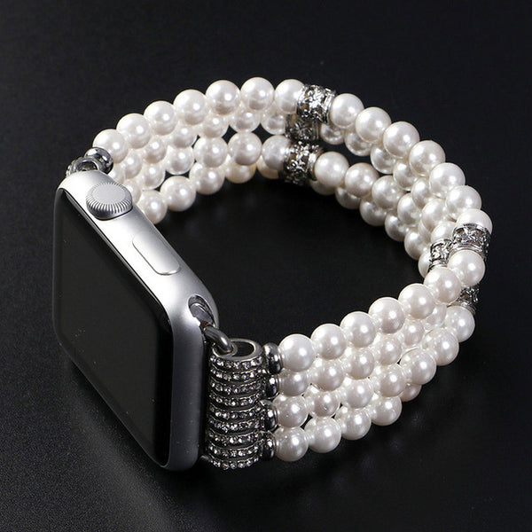 Bohemian Bliss Boutique,Stretch Faux Pearl Apple Watch Strap,Watches & Accessories,Major Watch and Accessories Manufacturer Store