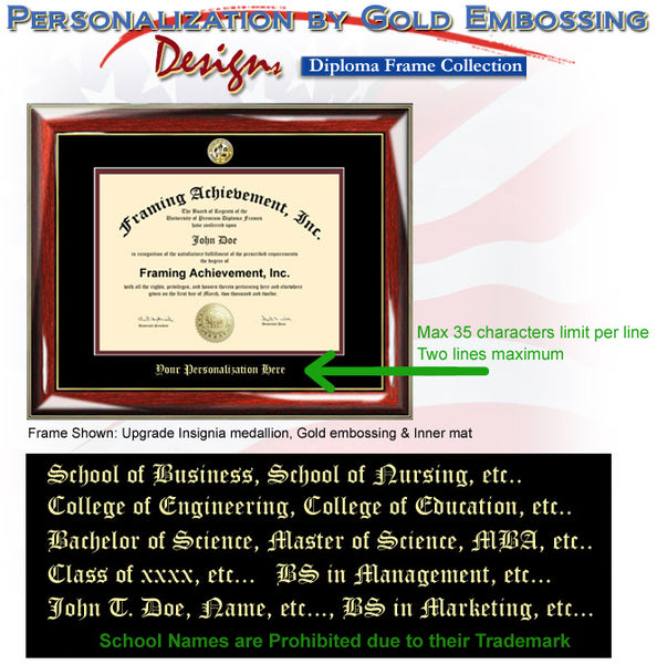 Gold Seal University Diploma Frame